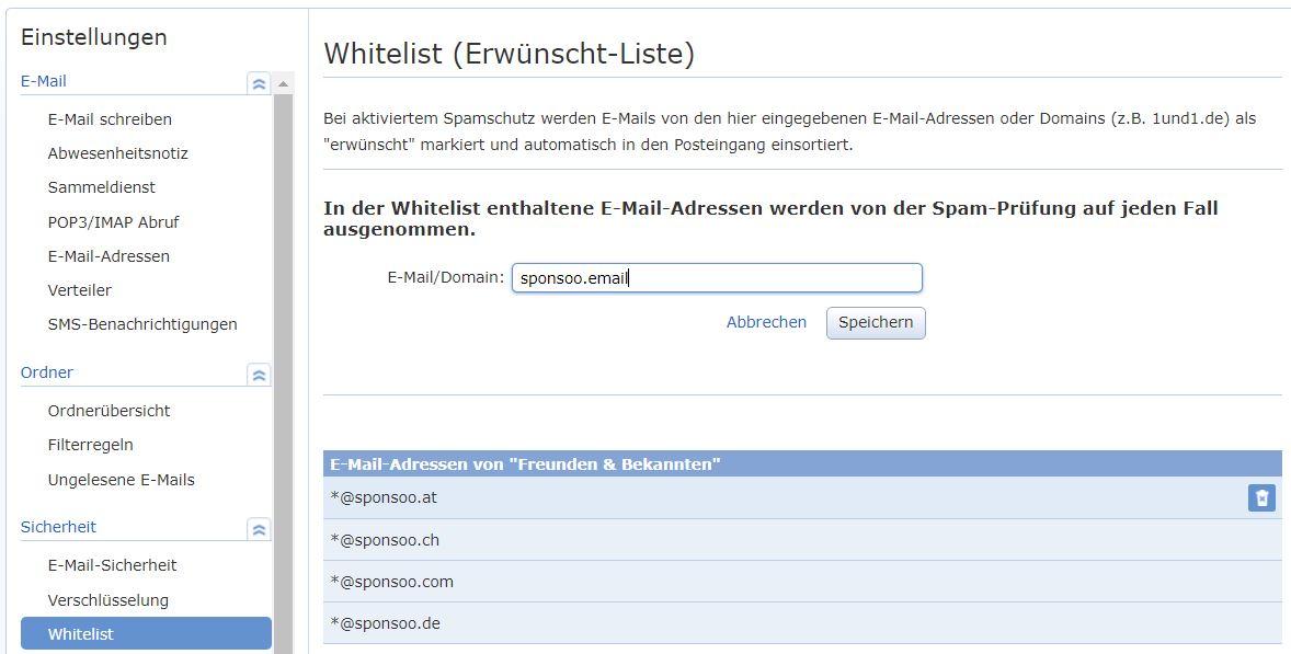 GMX Whitelist Adressen hinzufügen