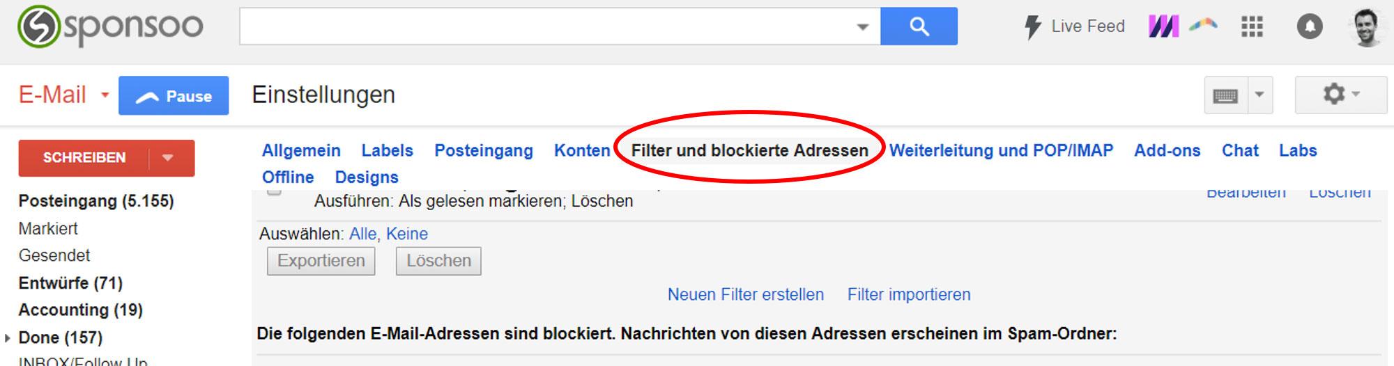 Gmail Whitelisting Filter erstellen