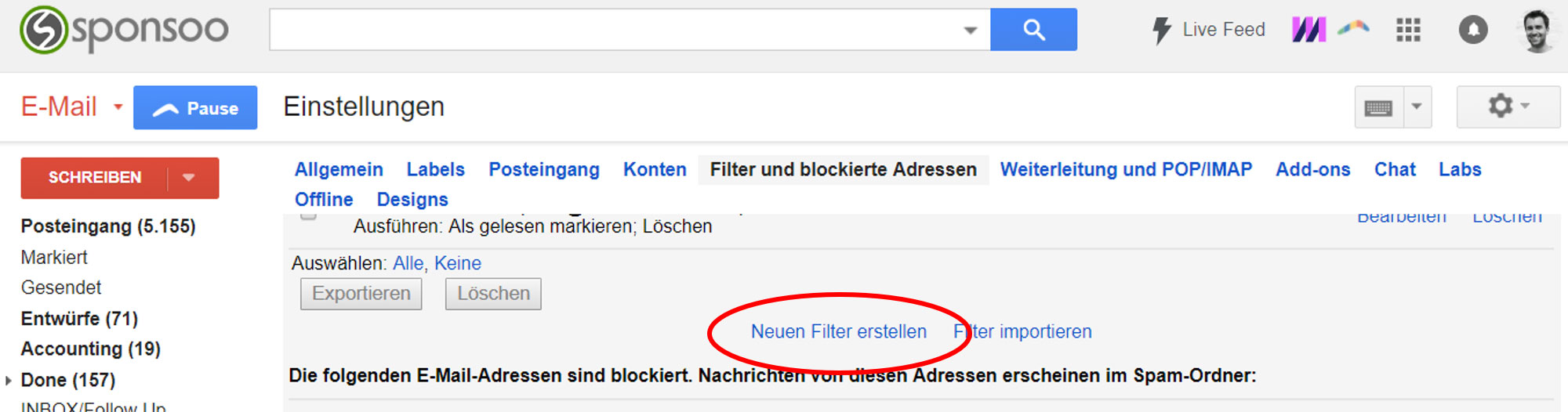Gmail Whitelisting neuen Filter erstellen