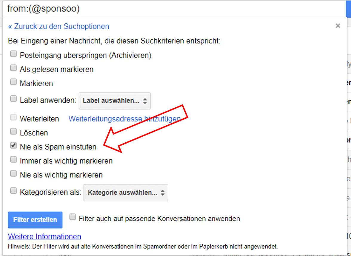 Gmail Whitelisting nie als Spam markieren
