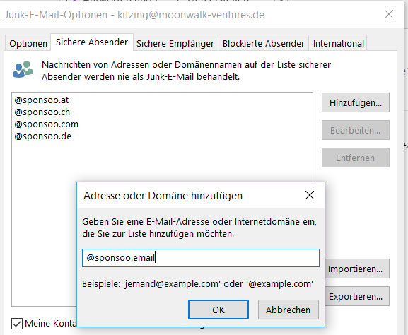 Outlook: E-Mail-Adressen als sichere Absender hinzufügen