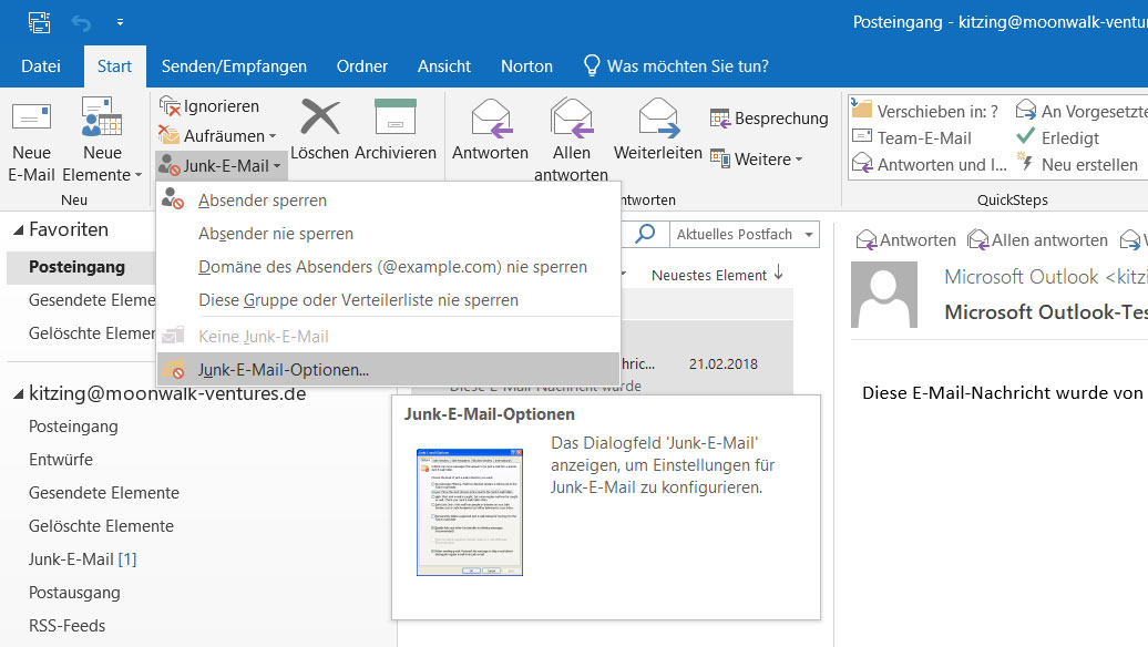 Outlook: Junk-E-Mail-Optionen