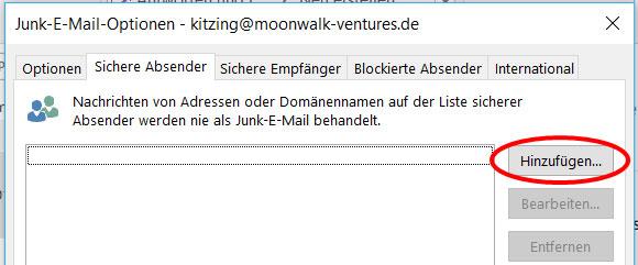 Outlook sichere Absender hinzufügen