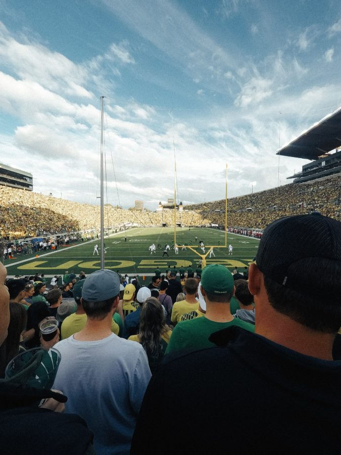 football stadium during a college game